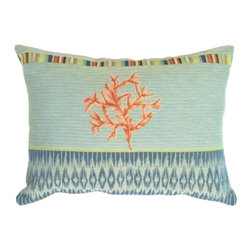 Pillow Decor Ltd. - Pillow Decor - Tropical Coral Pillow - Coral is as flattering to home decor as it is to fashion. Perk up your sofa, bench or settee with this beachy jacquard tapestry accent pillow. The central coral embellishment is accented by fun geometric designs in a soft palette of blues and greens for a look that balances a relaxed feel with sophisticated style.