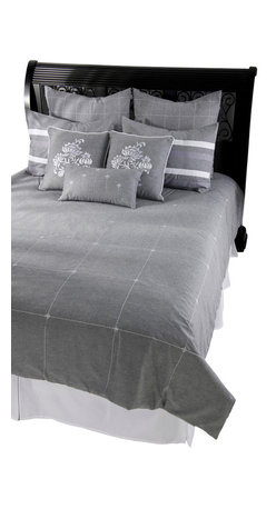 Rizzy Home - Paris Gray Full Size Duvet with Poly Insert Bed Set - Tailored to fit your transitional bedroom as skillfully as any couture creation, this heather gray and white collection is soft, sumptuous and straightforward. Custom crafted accent pillows are embroidered with an abstract floral motif giving this strong ensemble a delicate touch.