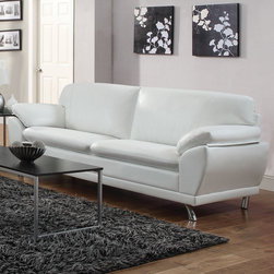 "Coaster - Robyn Sofa, White - Create a contemporary living room with our Robyn collection. Each piece sits on stylish chrome legs and is wrapped in a smooth Bonded Leather Match. Also features large cushions, attached seat cushions, pillow top arms and a wood frame. Available in four colors: black, red, dark brown and white.; Contemporary Style; Finish/Color: White; Upholstery: Bonded Leather Match; Dimensions: 85""L x 34""W x 30.50""H"