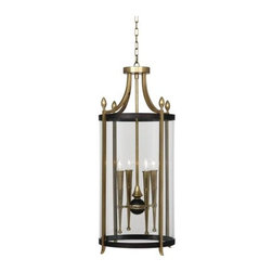 Robert Abbey - Robert Abbey 861 Warwick 4 Light Large Pendant in Antique Brass and Painted Bron - Warwick 4 Light Large Pendant in Antique Brass and Painted Bronze Accent Finish with Clear Glass.Bulb Type: Incandescent Collection: Warwick Depth: 16 Finish: Antique Brass with Painted Bronze Accent Glass: Clear Height: 35 Material: Glass Number of Lights: 4 Origin: China Pendant Type: Foyer Voltage: 120 Wattage: 60 Width: 16