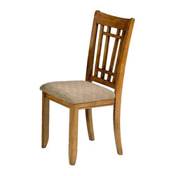 Liberty Furniture - Santa Rosa Mission Side Chair - Set of 2 - Set of 2. Padded upholstered seat. RTA construction. Nylon glides. Warranty: One year. Made from select hardwoods and oak veneers. Mission oak finish. Made in Malaysia. 18 in. W x 18 in. D x 39 in. H (18 lbs.)