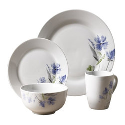 Tabletops Unlimited - 16 Piece Wildflower Dinnerware Set - Dishwasher Safe.  Microwave Safe.  Oven Safe up to 400 °F. Material: Porcelain . (4) 10.5 in. Dinner. (4) 7.5 in. Salad. (4) 5 in. Cereal. (4) 12oz MugWildflower is strong enough for everyday use, yet fashionable enough for casual dining and entertaining. Classic round bodies showcase fresh contemporary design for a touch of class that complements any table setting and presents beautifully.