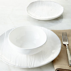 """NM EXCLUSIVE - 12-Piece Wood-Grain Design Dinnerware Service - WHITE - NM EXCLUSIVE12-Piece Wood-Grain Design Dinnerware ServiceDetailsHandcrafted earthenware.Dishwasher and microwave safe.Service includes four 11""""Dia. dinner plates four 8.5""""Dia. salad plates and four 6""""Dia. x 1.75""""T cereal bowls.Made in Portugal."""
