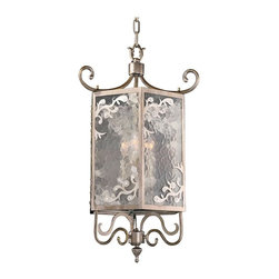 Kalco Lighting - Kalco Kendall 3-Light Foyer - Shown in Aged Silver finish. The Kendall collection was inspired by the pagodas of Asia. The delicate curls at the top and bottom highlight Kalco's exclusive Aged Silver finish. The hammered glass makes the lighting look as if it flickers and is accented with flourishes tipped in crystal to add a touch of sparkle. This hanging lantern is a modern take on traditional elements. Overall size is 12 in. W x 12 in. D 27 in. H.