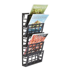 Safco - Safco Grid Magazine Rack 5 Pocket in Black - Safco - Magazine Racks - 4661BL - Stylish and ultra modern racks will keep your reading materials organized and easy for the next reader to find in your waiting area, reception room or employee break area. Use the 5 pocket rack to display business forms, corporate literature, industry magazines or other magazine and literature pieces. Heavy-duty steel for durability and come in a Black finish. Wall mounting hardware is included.