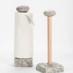 Paper Towel Holder - Stone Granite Paper towel holder.  Beach Stone top.  Stone and oak.