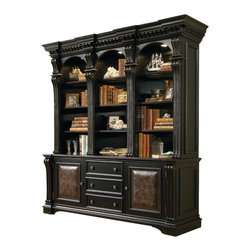Hooker Furniture - Hooker Furniture Telluride Bookcase - Telluride's black paint finish with heavy reddish brown rub-through, carved leather panels and nail head trim give this collection a rich masculine look. Dimensions: Bookcase Base: 72 1/4 x 22 1/2 x 30 in. Bookcase Hutch: 77 1/4 x 20 x 58 in.