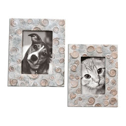 Uttermost - Spirula Photo Frames Set of 2 - Stone look with ivories, browns and grays.