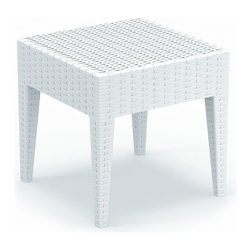 Siesta - Miami Square Resin Side Table - *Made from commercial grade resin. Wickerlook resin weave design. Not Woven, will not unravel.