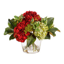 Winward Home - Mixed Holiday Hydrangea in Glass Vase - Perfect for the hydrangea lover, deck the halls with your favorite pom poms in colors of Christmas.