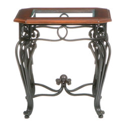 Holly & Martin - Holly & Martin Newcastle End Table - Grace your home with the true elegance of this beautiful end table. Scrolled black iron legs and a beveled glass top with dark cherry trim are combined for a truly wonderful accent piece for your home. The metal legs are hand crafted with delicate curves and symmetrical details from top to bottom. The traditional styling is timeless and with durable metal construction you are sure to enjoy such a wonderful piece for years to come.