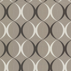Circulate Sepia Retro Orb Wallpaper. - This retro wallpaper design gets a mod uplift in shimmering sepia, warm taupe and cream.