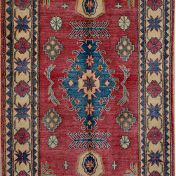 """ALRUG - Handmade Red/Rose Oriental Kazak Rug 3' 3"""" x 4' 11"""" (ft) - This Afghan Kazak design rug is hand-knotted with Wool on Cotton."""