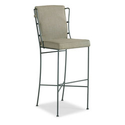 Schnadig - Caracole Is This Seat Taken? Barstool - This hearty, indestructible 45-inch high bar stool begins with a galvanized metal frame and is suitable for any rustic, traditional or casual setting. Upholstered seat and tie-on back pad included.