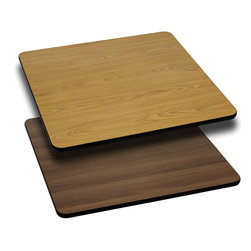 """Flash Furniture - 24'' Square Table Top with Natural or Walnut Reversible Laminate Top - Complete your restaurant, break room or cafeteria with this reversible table top. The reversible laminate top features two different laminate finishes. This table top is designed for commercial use so you will be assured it will withstand the daily rigors in the hospitality industry.; Reversible Restaurant Table; 1.125"""" Thick Square Table Top; Bi-Color Laminate Top; Natural On One Side, Walnut on the Other; High Impact Melamine Core; Black T-Mold Protective Edging; Designed for Commercial Use; Available Sizes: 24"""", 30"""", and 36""""; Assembly Required: Yes; Country of Origin: China; Warranty: 2 Years; Weight: 40 lbs.; Dimensions: x 24""""W x 24""""D"""