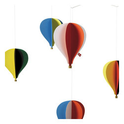 """Flensted Mobiles - Balloon 5 Mobile - A colourful and festive balloon-mobile inspired by """"Montgolfières"""" of the 18th century and modern hot air balloons of today. Here you have 5 balloons. A plate showing famous balloons, beginning with the first Montgolfiere from 1783 and ending with """"Double Eagle II"""" from 1978 is enclosed."""