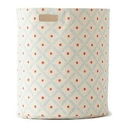 Pehr Sky/Tomato Weave Canvas Storage Hamper - This whimsical hamper in sky blue and tomato red weave and dot pattern is unique and durable. Made from 100% Heavy weight cotton canvas and machine washable. Just one of many prints to choose from, the Petite Pehr Weave Hamper will fit perfectly into your child's room.