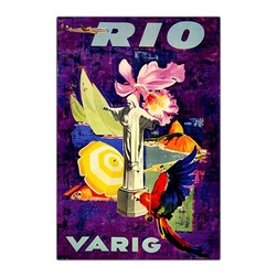 Trademark Global - Rio Varig Framed Canvas Wall Art - Giclee on canvas. Traditional style. Subject: Vintage. Format: Vertical. Size: Medium. Canvas material. 18 in. W x 24 in. H (4 lbs.)Giclee is an advanced printmaking process for creating high quality fine art reproductions. The attainable excellence that Giclee printmaking affords makes the reproduction virtually indistinguishable from the original artwork. The result is wide acceptance of Giclees by galleries, museums and private collectors.