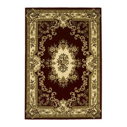 "Kas - Aubusson Red Ivory Corinthian Oriental 3'3"" x 4'11"" Kas Rug  by RugLots - Our Corinthian series is machine-woven in China of 100% heat-set polypropylene and hand-carved with specific attention to detail. This line features classic Aubusson floral patterns, a look usually found only in traditional hand-knotted collections. This timeless classic has been designed with today"