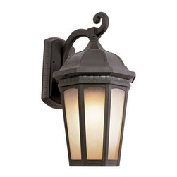 Trans Globe Lighting - Trans Globe Lighting Rustic Lodge Black Outdoor Wall Light - Weather resistant cast aluminum. Decorative wall bracket and lantern. Open at bottom for easy bulb replacement. Trans Globe Lighting is proud to be a leading manufacturer of residential lighting lamps and home decor since 1986. Born from the hopes and aspirations of two entrepreneurial spirits Trans Globe Lighting is a true testament to the American dream. Their company mission from the start was exceeding the industry standard in value style and selection. Today that mission remains stronger than ever.  In 2005 they expanded into a larger distribution facility in beautiful Valencia CA. This enables them to stock a steady on-hand inventory of over 3000 SKU's ranging from small outdoor porch lights to massive Bohemian crystal chandeliers. Features include Weather resistant cast aluminum Sturdy attachment to wall bracket and wall plate resists wind Open at bottom for directional light and easy bulb access 6 window light frame in glowing tea stain glass Tuscan Italian outdoor lighting collection for rich accent lighting. Specifications Finish: Black Material: Cast Aluminum Glass Bulb Type: Medium - E-26 - E-27 - Type A Number Of Bulbs: 1 Watt Per Bulb: 60 Wattage: 60 Bulbs Included: No Suitable For: Outdoor use Ul Listed: WET Energy Saving: No.