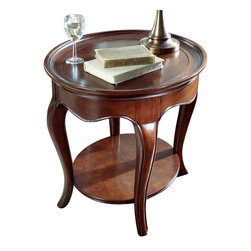 American Drew - American Drew Cherry Grove NG Oval Wood End Table in Brown - Cherry Grove New Generation line promises the same timeless quality and appeal with a full line of dining room, bedroom, home office, entertainment and occasional furniture. The line incorporates many elegant curves and graceful movement, and is updated with today? finishes, functionality and style. The inviting Mid tone brown finish makes the cherry veneers pop on each piece, along with Custom designed hardware. This line takes advantage of vertical space with higher case heights, and maximizes the utility of small spaces with hinged drop leaves on servers and tables. In combination, the collection takes functionality to a lifestyle level and allows urban or scaled-down living spaces to become entertainment areas, making small rooms work like big rooms. The New Generation of Cherry Grove is about honoring tradition while staying on trend.