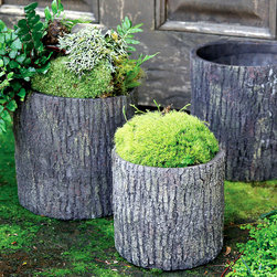 Cypress Cement Container Round - 7.5 x 8 - Rich, naturalistic texture gives depth to the simple cylindrical form of this Cypress Cement Container, a concrete planter in a useful size and updated shape.  Stained a long-wearing dark brown, the construction of the bark takes on a multitude of woodland shades for a rustic look that makes no distinction among styles, but fits with clear suitability in any exterior landscape.