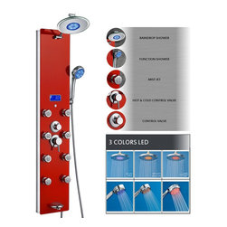 """AKDY - AKDY Aluminum Shower Panel Tower with Rainfall Shower Head, 52"""", Red, Shower Hea - This new AKDY luxurious shower panel has just newly arrived to North America and it is one of the best shower panels you can find in the market. The body of the shower panel is made of high quality aluminum alloy and tempered glass. It comes with several functions, including an overhead shower, a hand-held showerhead, 8 body massage nozzles, and a tub spout. Two controllers are added to control the functions and water temperature. By buying this unique and lavishing shower panel, you would be able to enjoy a higher level of showering experience after every day's hard work!"""