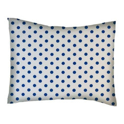 SheetWorld - SheetWorld Twin Pillow Case - Percale Pillow Case - Royal Blue Polka Dots - Twin pillow case. Made of an all cotton woven fabric. Side Opening. Features a royal blue polka dots print.