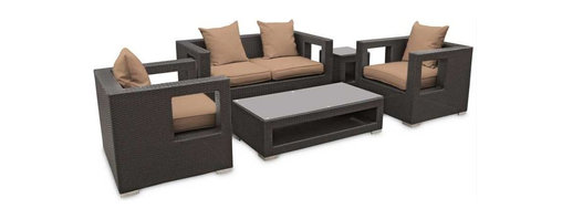 Modway - Lunar 5 Piece Sofa Set in Espresso Mocha - Elicit pure perceptions with this brightly illuminated outdoor living set. Inherit abundant light and energy as even the moon's halo shines a radiant glow on fertile mocha all-weather cushions and espresso rattan base. Rejuvenating discussions await along the path of illuminated space and emergent explorations.
