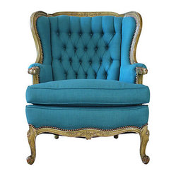 Peacock Blue Wing Chair
