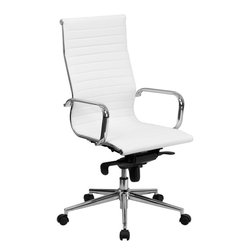 Flash Furniture - High Back White Ribbed Upholstered Leather Executive Office Chair - This elegant office chair will add an upscale appearance to your office. The comfort molded seat has built-in lumbar support and features a locking tilt mechanism for a mid-pivot knee tilt. This chair features dual paddle controls to easily adjust your chair and an integrated bar in the back to keep your jacket within reach. If you're looking for a modern office chair that provides a sleek look, then the Ribbed Upholstered Leather Office Chair by Flash Furniture delivers.