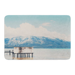 """KESS InHouse - Laura Evans """"Down By The Lake"""" Blue Brown Memory Foam Bath Mat (24"""" x 36"""") - These super absorbent bath mats will add comfort and style to your bathroom. These memory foam mats will feel like you are in a spa every time you step out of the shower. Available in two sizes, 17"""" x 24"""" and 24"""" x 36"""", with a .5"""" thickness and non skid backing, these will fit every style of bathroom. Add comfort like never before in front of your vanity, sink, bathtub, shower or even laundry room. Machine wash cold, gentle cycle, tumble dry low or lay flat to dry. Printed on single side."""