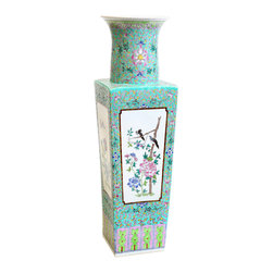"""Bungalow 5 - Bungalow 5 Imperial Turquoise Square Vase - The Bungalow 5 Imperial square vase exudes elegant chinoiserie style in contemporary interiors. A sculpted porcelain form, this white vessel excites with hand-painted patterns. 7""""W x 22.5""""H; Turquoise"""