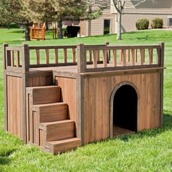 "Boomer & George Stair Case Dog House - A good dog deserves a good view and they don't get much better than that from atop the Boomer & George Stair Case Dog House. Boasting solid fir wood construction this house has steps along one side leading up to a rooftop balcony with safety slat rails. The stairs can hold up to 140 lbs of weight. Your dog can spend his afternoon on top of the house patrolling for rabbits and napping in the sun as necessary. If it starts to drizzle or he gets dog-tired he'll head to the spacious interior area. Weatherproof leg protectors and a raised-floor design resist moisture and ensure that the house stays dry and provides comfortable shelter even in hot cold or wet conditions. With easy-to-follow instructions and all hardware included this dog house assembles easily with a Phillips screwdriver. Small Dog House Dimensions (in inches) Door opening: 9.45W x 12.08H Interior: 31W x 22D x 16.6H Staircase: 11.8W x 8.3D x 14.6H Overall: 33W x 25.8D x 28H Medium Dog House Dimensions (in inches) Door opening: 11.8W x 16H Interior: 37.9W x 28D x 20.6H Staircase: 15.7W x 9.2D x 19.2H Overall: 40W x 32D x 32H Large Dog House Dimensions (in inches) Door: 13W x 17.9H Interior: 46W x 30D x 22.4H Staircase: 16W x 10.4D x 20.6H Overall 48W x 32D x 35H About Boomer & GeorgeWith a pair of pets in the boardroom Boomer & George is a brand of fun function fur and feathers. Our products feature original and thoughtful designs and features that normally cost a leg and a tail. We believe pet products should be designed to improve the lives and living quarters of animals and owners equally and that everyone deserves to be happy and healthy. If ever we start to stray from this mission we're reminded by our board members with a booming """"bark!"""""