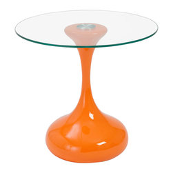 Eurostyle - Euro Style Sheila Collection Sheila Side Table in High Gloss Orange/Clear - Sheila Side Table in High Gloss Orange/Clear in the Sheila Collection by Eurostyle