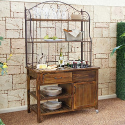Coral Coast - Coral Coast Courtyard Rustic Outdoor Buffet Multicolor - PSM176 - Shop for Serving Carts from Hayneedle.com! Charm your guests when you entertain using the Courtyard Rustic Outdoor Buffet. This rustic buffet is the perfect answer for serving food or drinks on the patio. Constructed of strong durable fir wood this vintage buffet is bound to last. Metal casters allow you to take the buffet anywhere you might need. Fully functional and fully stylish. It's all-you-can-neat. Detailed Hutch Dimensions: Working surface: 41W x 13.5D inches Clearance between working surface and middle shelf: 15.25H inches Middle Shelf: 40.5W x 13D x 12.75H inches Top Shelf: 40.5W x 13D inches