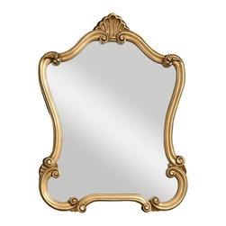 Uttermost - Walton Hall Mirror, Gold - Featuring decorative fleur-de-lis details, this frame is finished in heavily distressed antique white with charcoal undertones and a light gray glaze.