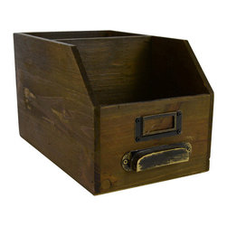 Wood 2 Section Desk Organizer - Add a little charm to your desk with our vintage-style wooden organizer.