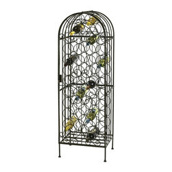 Howard Miller - 45-Bottle Wine Arbor w Metal Frame and Lockin - Wrought iron wine rack will get noticed at your next dinner party. It holds up to 45 bottles of wine! Intricate, arbor design has a hinged and locking front door. Its warm gray finish blends in with your existing d̩cor. Can be adjusted for stability on uneven floors. This stylish wrought iron wine rack features a warm gray finish and a locking hinged front door. The arbor features uniquely designed iron work throughout which beautifully showcases up to 45 bottles of wine. Adjustable levelers under each corner provide stability on uneven and carpeted floors. Locking door for added security. Warm Gray Finish. Constructed from wrought iron. Some assembly required. 17 1/2 in. W x 14 in. D x 54 in. H