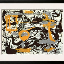 Artcom - Yellow, Grey, Black by Jackson Pollock Artwork - Yellow, Grey, Black by Jackson Pollock is a Framed Art Print set with a SOHO Black wood frame and a Polar White mat.