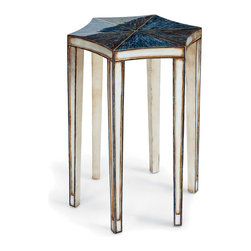 Kathy Kuo Home - Portman Hollywood Regency Abalone Shell Champagne Star Side Table - Natural, iridescent abalone shells are artfully arranged in a unique, star-shaped table, atop polished champagne legs. An antique white edge adds polish surrounding the shimmering celestial shape. Each piece is unique in color, texture and brilliance.