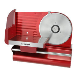 "Kalorik - Kalorik Red Slicer - Powerful motor, suited to slice frozen food (or deep frozen food if less than 4mm thick). Metallic housing, epoxy finition. 19cm / 7.5"" blade. 14.5 in. L x 8 in. W x 10 in. H (8 lbs.)Stop paying extra for pre-sliced food! Slice your own meat, cheese, bread, vegetables and fruit quickly and easily with this high-quality slicer. The variable thickness control makes it possible to choose from 0 (safe mode when unit is put away), deli-thin (1/32"") to thick (1/2""). The large multipurpose 7 1/2 inch serrated stainless steel blade handles a wide range of food sizes and shapes. Extra highlight are the depth control and a strong, high-quality 200 watt gear motor."