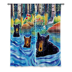 "DiaNoche Designs - Window Curtains Unlined by Harriet Peck Taylor - Cooling Off - Purchasing window curtains just got easier and better! Create a designer look to any of your living spaces with our decorative and unique ""Unlined Window Curtains."" Perfect for the living room, dining room or bedroom, these artistic curtains are an easy and inexpensive way to add color and style when decorating your home.  This is a tight woven poly material that filters outside light and creates a privacy barrier.  Each package includes two easy-to-hang, 3 inch diameter pole-pocket curtain panels.  The width listed is the total measurement of the two panels.  Curtain rod sold separately. Easy care, machine wash cold, tumbles dry low, iron low if needed.  Made in USA and Imported."