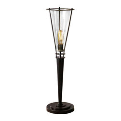 Uttermost Frisco Black Metal Accent Lamp - Rustic black metal accented with a plated cognac tinted glass hurricane. 40 watt antiqued style bulb included. Rustic black metal accented with a plated cognac tinted glass hurricane. 40 watt antiqued style bulb included.
