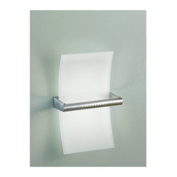 """Linea Light - Linea Light Metal wall lamp 1405 - This lamp consists of metal frame and chrome finish as well as white silk-screened sandblasted glass.   Product description: The Linea Light Metal wall lamp is designed and produced in Italy. This lamp consists of metal frame and chrome finish as well as white silk-screened sandblasted glass. Details:                         Manufacturer:             Linea Light                            Made in:            Italy                            Dimensions:             Height: 14.57"""" (37 cm) Width: 9.06"""" (23 cm)                             Light bulb:             150W R7s double ended Halogen - not in.                            Material             metal, glass"""