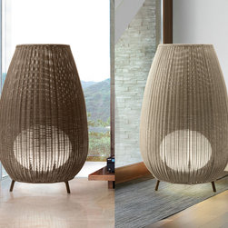 Bover - Amphora 01/02/03 - Outdoor Floor Lamp | Bover - Bover Amphora 01,02,03 outdoor�floor lamp features�a tripod stand structure. Fixture�has received an applied Cataphoresis treatment to�help withstand exposure to the elements. Lamp shade�is composed of hand wrapped polyethylene synthetic�fiber, available in different colors. � Light source is�protected by a frosted, polyethylene globe of medium�density and UV protection. Electrical cord is protected�with water-proof neoprene coating, and fixture is direct�wire with no switch on the cord or fixture. Available in�three sizes.�Amphora is not a customizable product. It can be�securely fastened to the floor with surface wiring. � Manufacturer:�BoverSize:�S: 19.29 in. diameter x 30.51 in. heightM: 31.50 in. diameter x 48.43 in. heightL: 35.04 in. diameter x 53.94 in. height Light Source:�S: 2 x 20 W T4 E-26�- included?M: 2 x 29 W T4 E-26�- included?L: 2 x 29 W T4 E-26�- included? Location:�Wet Certifications: ETL, IP-55