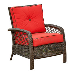 Forever Patio - Santa Monica Outdoor Wicker Club Chair, Ruby Cushions - The Forever Patio Santa Monica Outdoor Wicker Club Chair with Red Outdoor Cushions (SKU FP-SM-CC-CP) makes a handsome addition to your outdoor area. The wicker is woven into a thick weave, giving the club chair a refined look. Each strand is made from high-density polyethylene (HDPE) and is infused with a rich Cappuccino finish with UV-inhibitors that prevent it from fading over time. This patio lounge chair is supported by thick-gauged, powder-coated aluminum frames that make it more durable than natural rattan. This chair includes Red outdoor-grade cushions with Brown piping and a button for accent, adding comfort and style to your outdoor space.