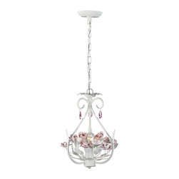 Elk Lighting - Elk Lighting-18156/1-Floria - One Light Chandelier - These mini chandelier items will beautify any room with their graceful basket designs with either crystal or pink rose accents. charming designs.