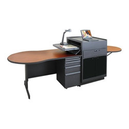 """Marvel Office Furniture - Zapf Office Support Instructor's Desk with Acrylic Door - The Zapf work station is ideal for superior function in your conference room, training areas and meeting rooms. The Zapf work station will support all the equipment required for any type of presentation, or interactive environment. The unique design of the adjustable height workstation top, combined with the generous work surface of the desk, means never running out of space and fumbling with your equipment. The acrylic doors allow remote-control infra-red signals. There are ample shelves, drawers and a large cabinet for storage. Features: -Adjustable height work surface, ideal for document cameras and student interaction.-Lockable pull-out projector shelf.-Locking equipment or media storage drawer.-CPU, a rack or component area with I/R friendly acrylic door.-Speaker mounting capability for 4"""" speakers or box speakers.-Desk has two box drawers, a file drawer and an additional pull-out lap top writing surface.-Media center features a height adjustable work platform.-Made in the USA.-Textured powder coat is one of the most durable high quality finishes.-Zapf Office Support collection.-Distressed: No.-Collection: Zapf.-Country of Manufacture: United States.-Desk Type: Desk with lectern.-Powder Coated Finish: Yes.-Gloss Finish: No.-UV Finish: No.-Top Material : Laminate.-Base Material: Metal.-Number of Items Included: 3.-Water Resistant: No.-Stain Resistant: No.-Heat Resistant: No.-Eco-Friendly: Yes.-Cable Management: Yes.-Keyboard Tray: No.-Height Adjustable: No.-Drawers Included: Yes -File Drawer: Yes.-Drawer Glide Material : Metal.-Drawer Glide Extension: Full Extension.-Safety Stop : Yes.-Soft-Close Drawer: No.-Locking Drawer: Yes.-Core Removable Drawer Locks: No.-Ball Bearing Glides: Yes..-Number of Drawer Pedestals: 1.-Pencil Drawer: Yes.-Jewelry Tray: No.-Exterior Shelving : No.-Ergonomic Design: No.-Handedness: Both.-Scratch Resistant: No.-Chair Included: No.-Legs Included: Yes """