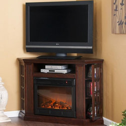 Holly & Martin™ Akita Convertible Media Electric Fireplace-Espresso - Holly & Martin™ Akita Convertible Media Electric Fireplace-Espresso is a triangular media storage shelves on either side of the firebox provide plenty of space for your favorite media selections and are enclosed by glass doors. An additional media equipment shelf rests above the firebox and is complete with convenient back wall cord access. It is also designed with a collapsible panel, allowing instant remodeling without the usual mess or expense.